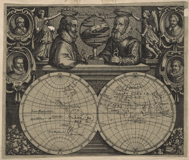 Circumnavigators, by Unknown artist, early 17th century - NPG D21178 - © National Portrait Gallery, London