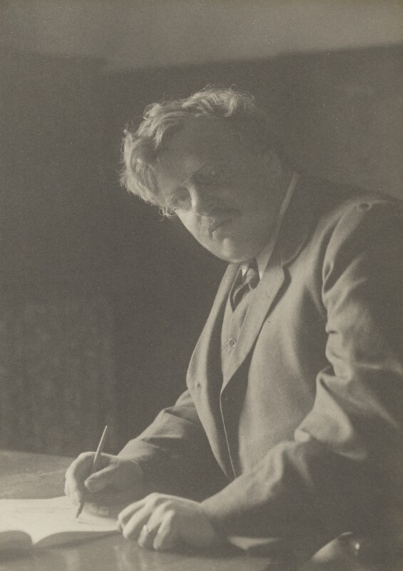 G.K. Chesterton, by Walter Stoneman, for  James Russell & Sons, circa 1916 - NPG Ax39217 - © National Portrait Gallery, London