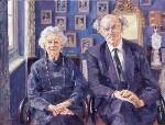 Elizabeth (née Harman), Countess of Longford; Francis Aungier Pakenham, 7th Earl of Longford, by Lucy Willis, 1993 - NPG  - © National Portrait Gallery, London