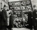 Anti-nuclear demonstrators including Michael Randle, Michael Scott; Bertrand Russell and Hugh MacDiarmid, by Ida Kar, 18 February 1961 - NPG  - © National Portrait Gallery, London
