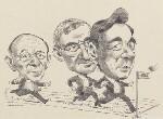 Sir John Tusa; John Birt, Baron Birt; Sir Michael Checkland ('The Race for the Director-Generalship of the BBC'), by David Smith, 1992 - NPG  - © David E Smith / National Portrait Gallery, London