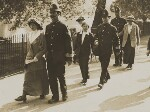 Suffragettes 'After the fight' (four unknown women and three unknown Policemen), by Central Press, circa 1914 - NPG  - © National Portrait Gallery, London