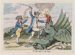 'St George and the dragon' (Charles James Fox; George Bridges Rodney, 1st Baron Rodney), by James Gillray, published by  Hannah Humphrey, published 13 June 1782 - NPG  - © National Portrait Gallery, London