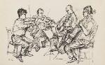 Amadeus Quartet (Norbert Brainin; Siegmund Nissel; Peter Schidlof; Martin Lovett), by Milein Cosman, 1960s - NPG  - © Milein Cosman / National Portrait Gallery, London