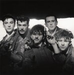 Frankie Goes To Hollywood (Mark O'Toole; Paul Rutherford; Peter Gill; Holly Johnson; Nasher Nash (Brian Nash)), by Eric Watson, 5 April 1984 - NPG  - © Eugene and Willa Watson / National Portrait Gallery, London