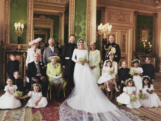 Meghan, Duchess and Prince Harry with family by Fashion photographer  Alexi Lubomirski