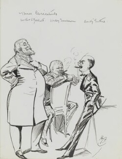 Arthur William à Beckett; Edwin Linley Samborne; Thomas ('F. Anstey') Guthrie, by Harry Furniss - NPG 3619