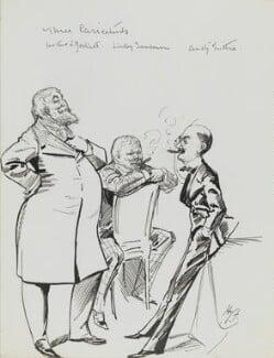 Arthur William à Beckett; Edwin Linley Samborne; Thomas ('F. Anstey') Guthrie, by Harry Furniss, 1880s-1900s - NPG 3619 - © National Portrait Gallery, London