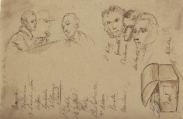 Various heads including 7th Baron King of Ockham, 1st Earl Granville, 5th Earl de la Warr and 1st Earl Amherst of Arracan, by Sir George Hayter - NPG 2662(20)