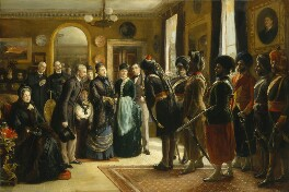 The Duke and Duchess of Teck receiving officers of the Indian Contingent, 1882, by Sydney Prior Hall, 1883 - NPG 4441 - © National Portrait Gallery, London