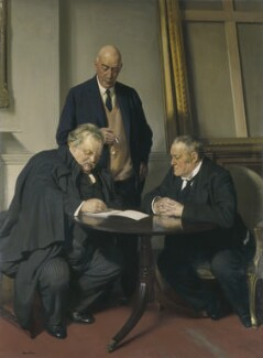 Conversation piece (G.K. Chesterton; Maurice Baring; Hilaire Belloc), by Sir James Gunn, 1932 - NPG 3654 - © National Portrait Gallery, London