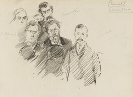 Group including Willie Redmond, Joseph William Comyns Carr, H. Campbell and others, by Sydney Prior Hall - NPG 2286
