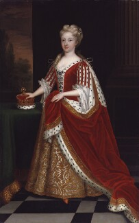 Caroline Wilhelmina of Brandenburg-Ansbach, after Sir Godfrey Kneller, Bt, 1716-1725, based on a work of 1716 - NPG 529 - © National Portrait Gallery, London