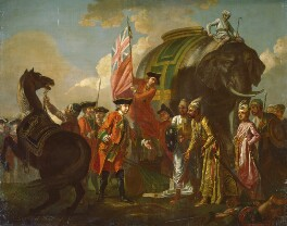 Robert Clive, Mir Jafar and his son Mir Miran, with a number of British and Mughal attendants, after the Battle of Plassey, 1757, by Francis Hayman, circa 1760 - NPG  - © National Portrait Gallery, London