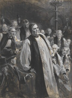 The Education Bill in the House of Lords (The Collapse of the Archbishop of Canterbury), by Sydney Prior Hall, published in The Graphic 13 December 1902 - NPG 2369 - © National Portrait Gallery, London
