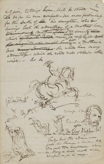 Sketches on seven sheets of MS fragments, by George Cruikshank - NPG 4259