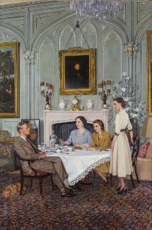 Conversation piece at the Royal Lodge, Windsor, by Sir James Gunn, 1950 - NPG  - © National Portrait Gallery, London
