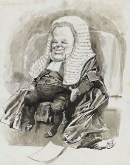 Hardinge Stanley Giffard, 1st Earl of Halsbury, by Harry Furniss, 1880s-1900s - NPG 3393 - © National Portrait Gallery, London