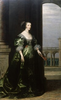 Henrietta Maria, by Unknown artist, background by  Hendrik van Steenwyck, circa 1635 - NPG  - © National Portrait Gallery, London