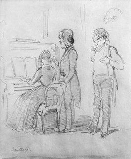 Mr and Mrs George Henry Lewes with Thornton Leigh Hunt, by William Makepeace Thackeray - NPG 4686