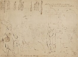Sketch of 'The Mission of Mercy: Florence Nightingale receiving the Wounded at Scutari', by Jerry Barrett - NPG 2939a