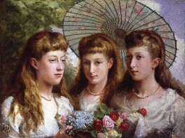 The three daughters of King Edward VII and Queen Alexandra, by Sydney Prior Hall, 1883 - NPG 4471 - © National Portrait Gallery, London