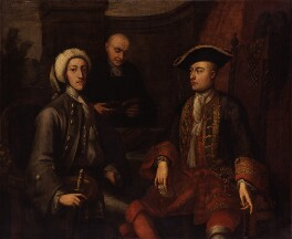 Three unknown men, of which two formerly known as John Montagu, 2nd Duke of Montagu, James O'Hara, 2nd Baron Tyrawley, probably by John Verelst - NPG 2034