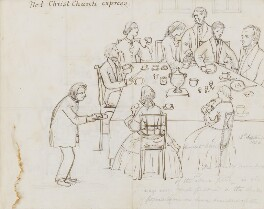 Edward Bouverie Pusey with his family at breakfast, by Clara Pusey, 1856 - NPG 4541(4) - © National Portrait Gallery, London