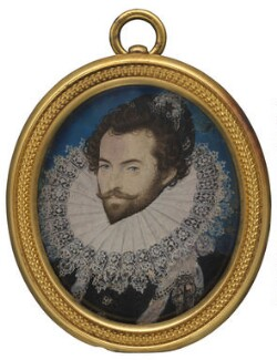 Sir Walter Ralegh (Raleigh), by Nicholas Hilliard, circa 1585 - NPG 4106 - © National Portrait Gallery, London