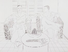 Don Bachardy; Christopher Isherwood, by David Hockney - NPG 6024