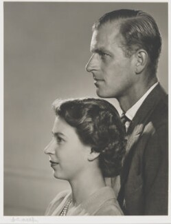 Queen Elizabeth II; Prince Philip, Duke of Edinburgh, by Yousuf Karsh - NPG P343