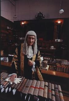 Alfred Thompson ('Tom') Denning, Baron Denning, by Arnold Newman - NPG P150(14)