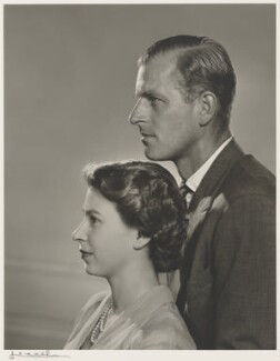 Queen Elizabeth II; Prince Philip, Duke of Edinburgh, by Yousuf Karsh, 1951 - NPG P490(26) - © Karsh / Camera Press