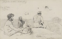 Sir Khengartji Savai, Maharao of Cutch and two unknown men, by Sydney Prior Hall - NPG 2381