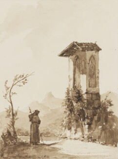 A monk before relic of a Church, possibly by Thomas Uwins - NPG 3944(8)