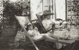 Julian Vinogradoff (née Morrell) and her nanny Billy Townshend, by Lady Ottoline Morrell - NPG x144207