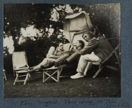 'Eddy, Siegfried, Pung riding on Phil', by Lady Ottoline Morrell - NPG Ax142584