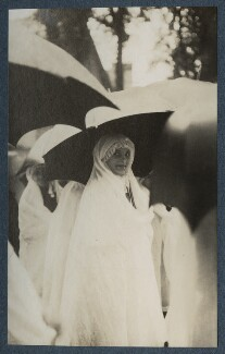 'Procession in the rain at the enthronement of the new bishop' (Unknown girl), by Lady Ottoline Morrell - NPG Ax142633