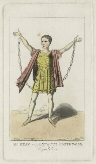 Edmund Kean as Leonatus Posthumous in 'Cymbeline', by (Isaac) Robert Cruikshank, published 1823 - NPG D21267 - © National Portrait Gallery, London