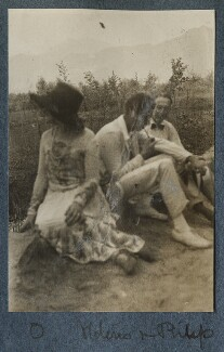 Lady Ottoline Morrell; Aldous Huxley; Philip Edward Morrell, by Unknown photographer - NPG Ax142899