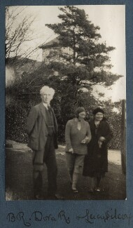 Bertrand Russell; Dora Winifred Russell (née Black); Lucy Mary Silcox, by Lady Ottoline Morrell - NPG Ax142975