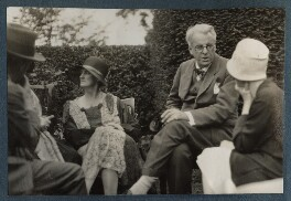 Walter de la Mare; Bertha Georgie Yeats (née Hyde-Lees); W.B. Yeats and an unknown woman, by Lady Ottoline Morrell - NPG Ax143157