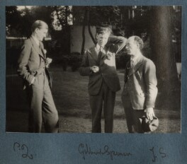 Sir Peter Courtney Quennell; Gilbert Spencer; James Stephens, by Lady Ottoline Morrell - NPG Ax143211