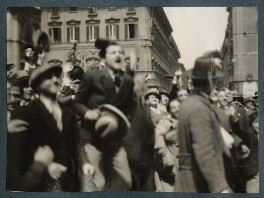 'Crowds in Piazza Venezia, Rome', possibly by Lady Ottoline Morrell - NPG Ax143262