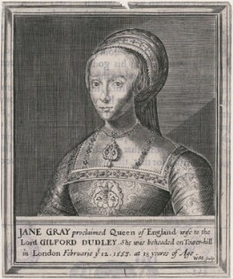 Lady Jane Grey, by William Marshall, after  Magdalena de Passe, after  Willem de Passe, after  Hans Holbein the Younger - NPG D21395