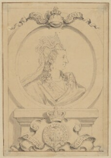 Anne of Denmark, by George Vertue, after  Isaac Oliver - NPG D21404
