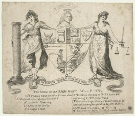 William Pitt, 1st Earl of Chatham ('The Arms of the Right Honble W_ P_tt'), by Unknown engraver, 1778 or after - NPG D21412 - © National Portrait Gallery, London