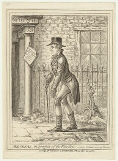 George Granville Leveson-Gower, 1st Duke of Sutherland ('Mæcenas, in pursuit of the fine arts'), by James Gillray, published by  Hannah Humphrey - NPG D21427