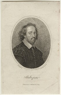 Memorial portrait of William Shakespeare, by Thomas Woolnoth, published by  Mary Jane Godwin, after  Gilbert Soest - NPG D21646