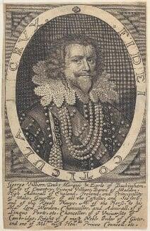 George Villiers, 1st Duke of Buckingham, by William Faithorne, after  Michiel Jansz. van Miereveldt, circa 1650s - NPG D22656 - © National Portrait Gallery, London